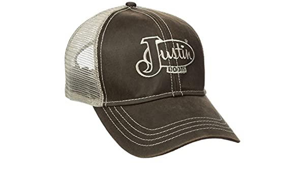 03cd5bdb538 Justin Boots Men s Cotton Twill Oil Cloth Ball Cap with Mesh Back ...