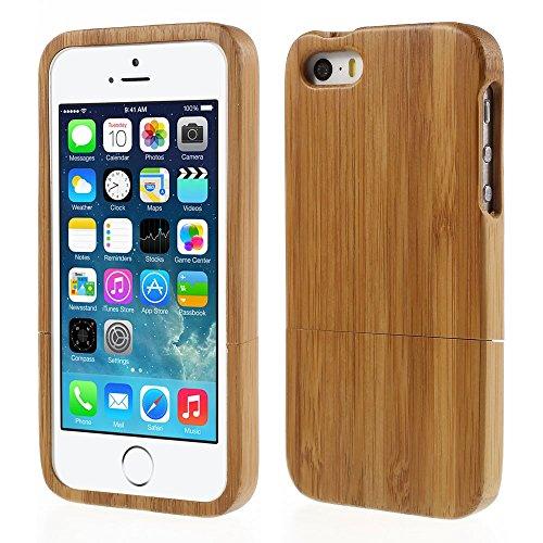 Apple iPhone SE 5 5S Handy Tasche Hard Case Echt Holz Natural Wood Cover Schutz Hülle Bamboo - Bamboo-gürtel