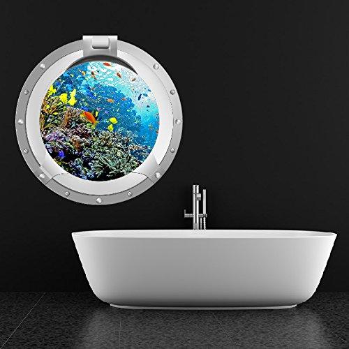 Korallenriff Bullauge Wandaufkleber 3D Ozean Wandtattoo Kinderzimmer Bad Dekor Erhältlich in 8 Größen Mittel (Dekor Digital)