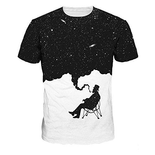 Imagen de luckygirls camisetas hombre color de hechizo estampado de fumar originales manga cortos verano moda músculo polos personalidad casual remera slim camisas de deporte xl, blanco  alternativa