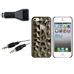 Transparent Fumee Housse Coque+Audio Cable+Auto Chargeur Pour iPhone 5 5G