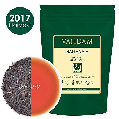 Tè oolong in foglie maharaja earl grey (50 tazze) - 100% olio essenziale di bergamotto italiano con tè oolong di alta quota dell'himalaya, 100g