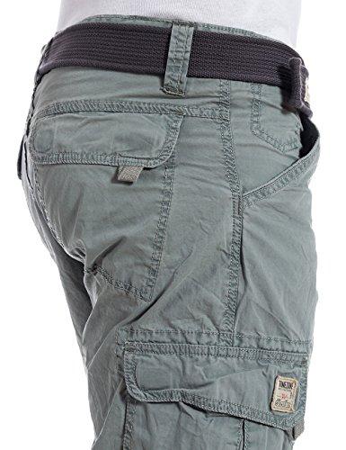 Timezone - MilesTZ  cargo 3/4 pants incl.belt - Court Homme Gris (military grey 6168)