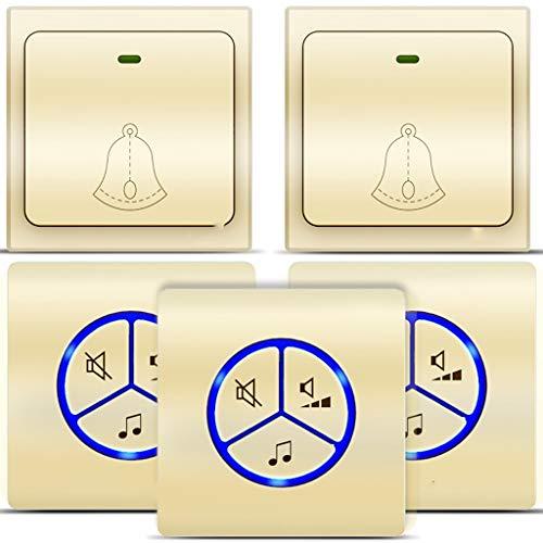 Türklingeln Kabellose Türklingel Ohne Batterie Türklingel-Kit mit eigener Stromversorgung 25 Klingeltöne für den ersten Akkord 4 Lautstärkestufen einstellbar für Home Office Stores Farbe Gold Türglock