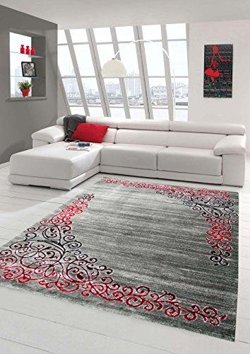 Alfombra moderna de diseño alfombra oriental con la manta Glitzergarn sala de estar con patrón floral en gris jaspeado rojo antracita Größe 160x220 cm