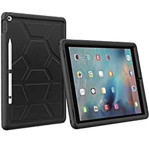 "Poetic Turtle Skin Custodia iPad Pro 12,9"" con Apple Pencil Holder, Nero"