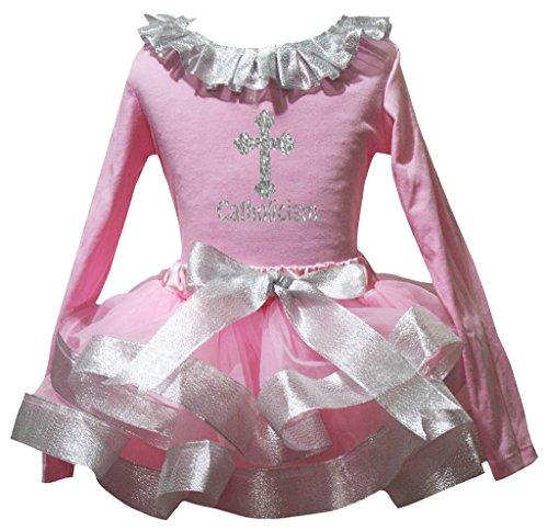 Petitebelle Katholizismus Rosa L/S Shirt Rosa-Silber-Petal-Rock-Satz Nb-8J 4-5 Jahre Hell-Pink