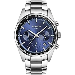 topwatch® sangdo Herren Sport Datum Edelstahl Chronograph Quarz Uhr mit Silber Band Blau Zifferblatt