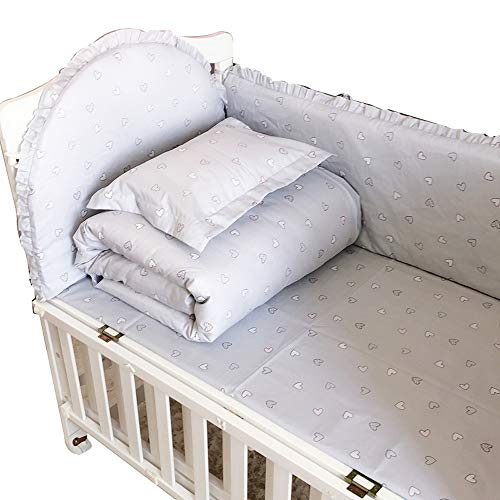 Pare-chocs pour lit de bébé lit en coton amovible et lavable respirant et entourant l'ensemble de literie pour bébé ensemble de 5 pièces anti-collision 105 * 60 C
