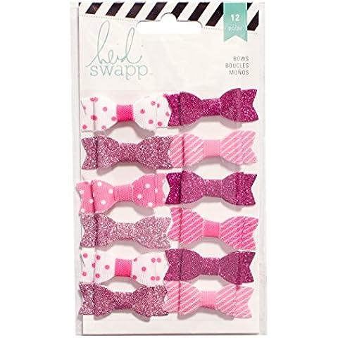 American Crafts–Heidi Swapp tessuto Fiocchi .5-inch, 4x 1, colore: rosa/bianco, in acrilico, multicolore