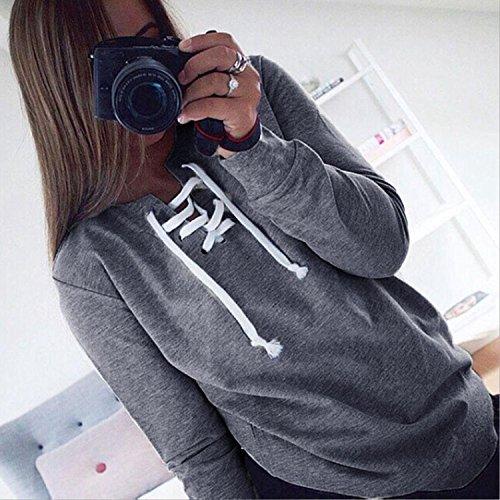 Minetom Femmes Automne Casual Pull à Manches Longues Tops à Lacets Chemisier Sport T-shirt Sweatshirt Gris