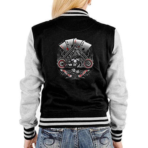 Poker Biker Damen Jacke - College Jacke Damen : Let it Ride -- Collegejacke Damen / Mädchen Farbe: schwarz Schwarz