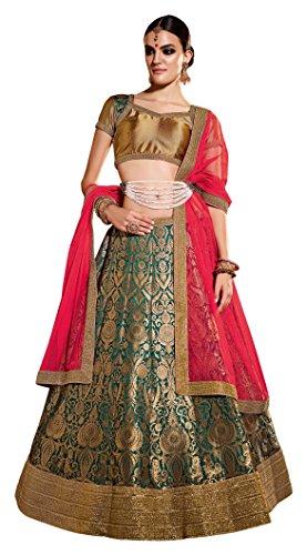 GAJIWALA SAREES Women's Net Unstitched Dress Material (Green & Red)