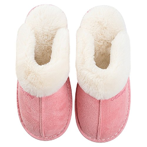 Memory Foam Cotton Slippers - Keep Warm Anti-slip Cotton Indoor Plush Spa Slippers - Shock Absorption Breathable and Soft Bedroom Indoor Winter Slippers for Men and Women (Women's 5UK/26CM, Pink)
