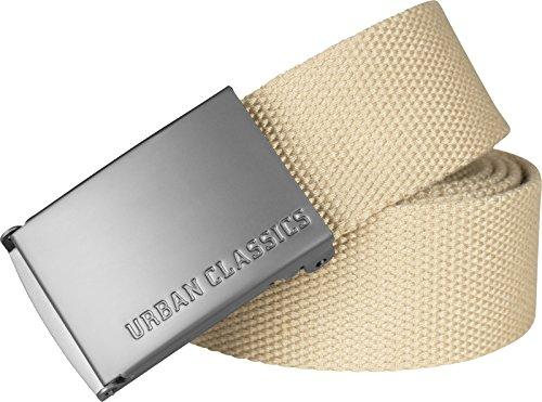 Urban Classics TB305 Unisex Gürtel Canvas Belt für Herren und Damen, stufenlos verstellbarer Stoffgürtel, Beige (Beige 3), Gr. One Size - Human Leder