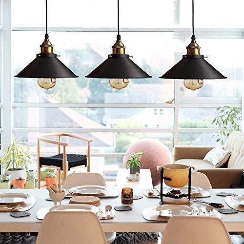 Rétro 3 Luminaires Suspension Industrielle E27-Ø22 cm, Métal Lustre Abat-jour plafonnier Intérieur Eclairage Decoratif,Noir