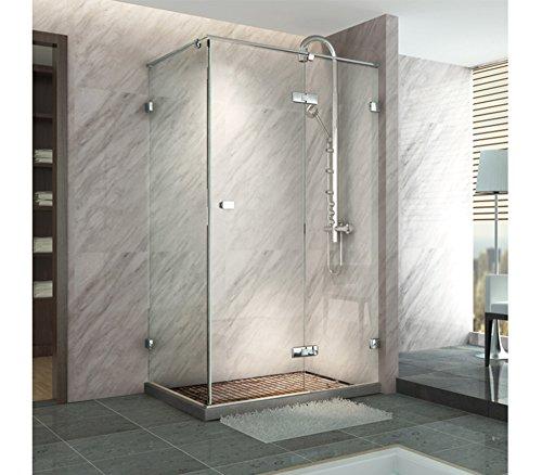 Partición de ducha con puerta corrediza rectangular, de vidrio templado decorado, vidrio transparente de seguridad de 8 mm, con perfiles ajustables de 10mm.