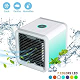 Rxment Mobiles Klimageräte Air Cooler - mini 3 in 1 mit Wasserkühlung Zimmer Raumentfeuchter Mini Klimaanlage ohne Abluftschlauch für Büro, Hotel, Garage, 3 Kühlstufen - 7 Stimmungslichter -