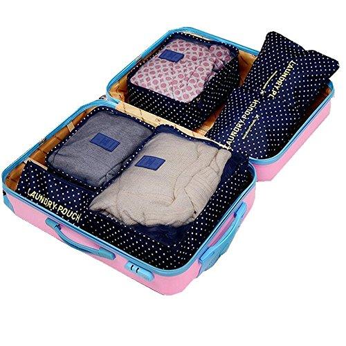 Samtaiker Kleidertaschen 6 Stück Set-3 Verpackungs Würfel+3 Beutel Kompresse Ihre Kleidung in Koffer Wäschebeutel während der Reise (Blau) Wellenpunkt