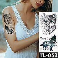 3Pcs-Pink flower panda elephant watercolor fox flower tattoo sticker girl waterproof tattoo female body arm neck art