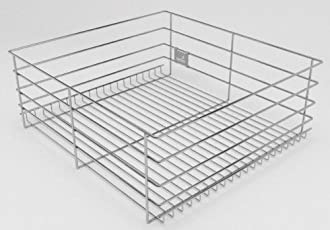 Hettich CargoTech M | SS Wire Basket for Modular Kitchen | Plain Multipurpose Basket - Without Partition | Depth 20 inch ~ 500MM | Width - 836mm (33Inch) x Height - 200mm (8 inch) | Finish: Zinc