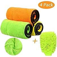 840GSM microfibra paños limpieza toallitas coche, Tencoz 3 piezas de limpieza de coches paño +