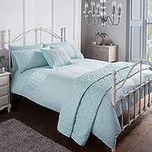 Sleepdown Pinsonic Blue Geometric Panel Luxury Soft Duvet Cover Quilt Bedding Set With Pillowcases - King (220cm x 230cm)