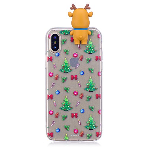 Cover iPhone X Case iPhone 10 Custodia Spiritsun Soft TPU Christmas Case Cover 3D DIY Case Elegante Flexible Natale Regalo Phone Cover Case Per iPhone X / 10 (5.8 Pollici) - Arco e albero di Natale Arco e albero di Natale