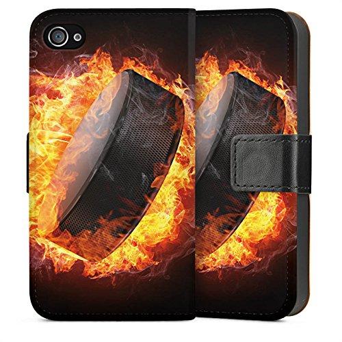 Apple iPhone SE Housse Outdoor Étui militaire Coque Hockey sur glace Flammes Palet enflammé Sideflip Sac