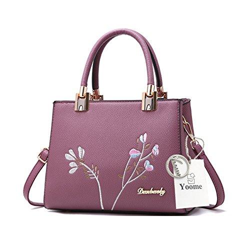 Borse eleganti di Tote del manico di ricamo di Yoome per le donne casuali nuove borse Chic Crossbody - Nero D.Purple