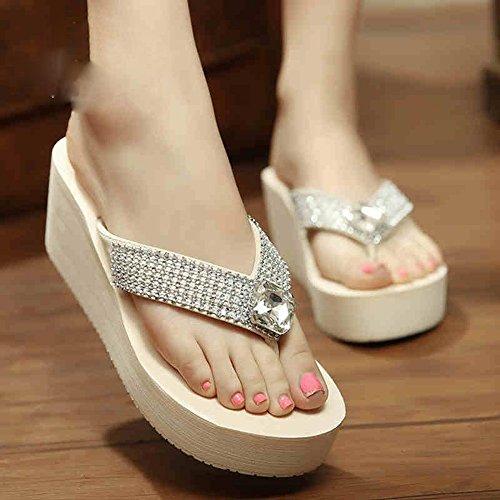 HAIZHEN Frauenschuhe Anti-Rutsch-Verschleiß-resistenten Sommer-High-Heels-Pantoffeln Sandalen Strand Schuhe Damen Sandalen für 18-40 Jahre Für Frauen (Farbe : Weiß, größe : 39) -