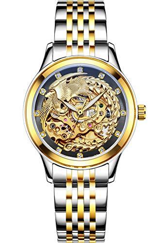 Damenuhr Automatikuhr Skelett Gold Edelstahl Armbanduhr Phoenix Design Luxus Mechanisch für Frauen - Phoenix Design