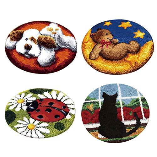 Baoblaze 4 Sets Knüpfteppich runde Formteppich für Kinder und Erwachsene, Knüpftset zum Selber Knüpfen Teppich, Latch Hook Kit, Tier Muster -