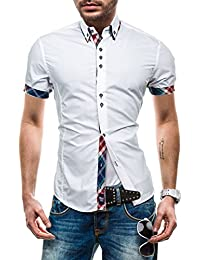 BOLF Kurzarm Herrenhemd Herren Hemd Figurbetont Freizeit Slim Fit Motiv 2B2
