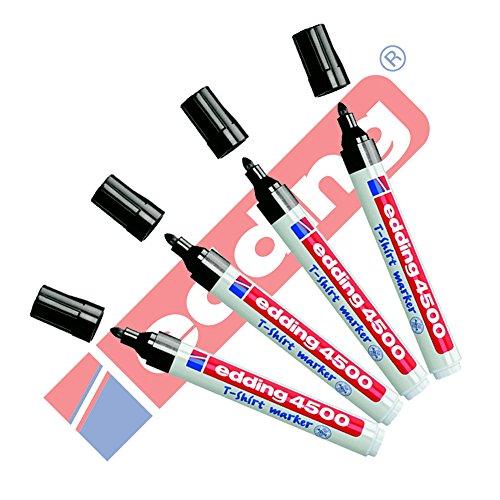 Edding 4500 Textilmarker creative | 20 Farben und Sortierte im 4er Sparpack zur Auswahl (Schwarz)