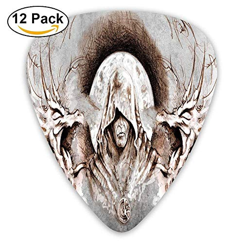 bbb7c7cbd9c4 Monk Witch On Tree Branches Background Gothic Medieval Magic Artistic  Graphic Decorative Guitar Picks 12