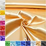 MAGAM-Stoffe Estelle Satin Stoff uni ideal für Kleidung und Deko Meterware ab 50cm (15. Gold)