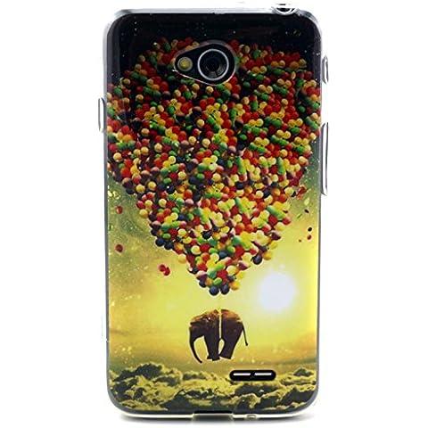 Beiuns Carcasa de TPU y silicona para Samsung LG L70 Funda - N126 el elefante y el globo