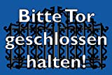 Tür / Tor Schild -1565s- Gartentor 29,5cm * 20cm * 2mm, mit 4 Eckenbohrungen (3mm) inkl. 4 Schrauben