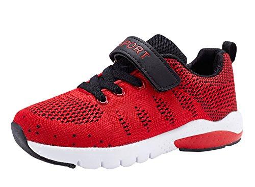 MAYZERO Bambina Scarpe da Ginnastica Ragazzo Ragazza Scarpe Unisex Kids Scarpe da Corsa Leggera in Mesh Atletico Leggero per Ragazzi Ragazze Sneaker (34 EU, Rosso)