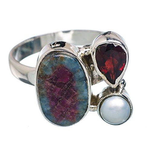 Ruby Fuchsite, Rubin Fuchsit 925 Sterling Silber Ring 8.25 (Ruby Und Garnet Ring)