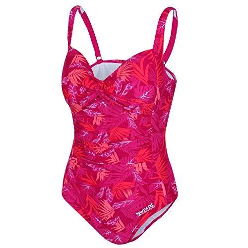 Regatta Damen Sakari Tummy Control Swim Kostüm, Dark Cerise Tropical, (Cerise Kostüm)