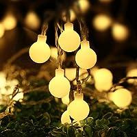 lederTEK 5,3 m 50LED ghirlanda luce con batterie del telecomando per la decorazione di interni o esterni con palle di Natale (bianco caldo)