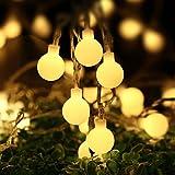 lederTEK 5.3m 50LED Guirnalda de Luz de Navidad con Pilas Mando a Distancia para Decoración de Árbol de Navidad Interior o Exterior con Diseño de Bolas(Blanco Cálido)