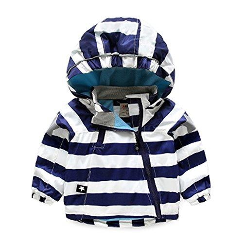 Zoerea bambini giacca antivento idrorepellente bambino,strisce di colore velluto interno cappuccio giacche