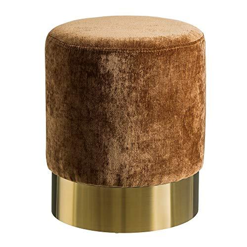 Puff tapizado de Terciopelo marrón Moderno para salón Bretaña - LOL