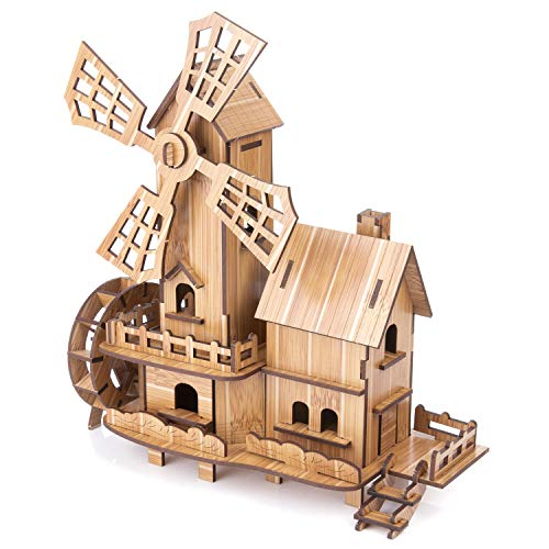 3D House Jigsaw Puzzle Model for Kids DIY Wooden Windmill Assembled Toys Bamboo Construction Toy Building Blocks