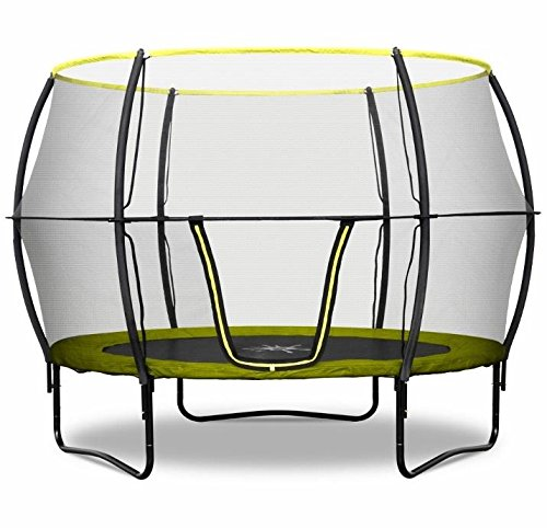 Rebo 10FT Trampoline with Enclosure - V2 Fun Jump or Air Launch 4K - Includes Accessories (10FT Base Jump (Green)) by Rebo