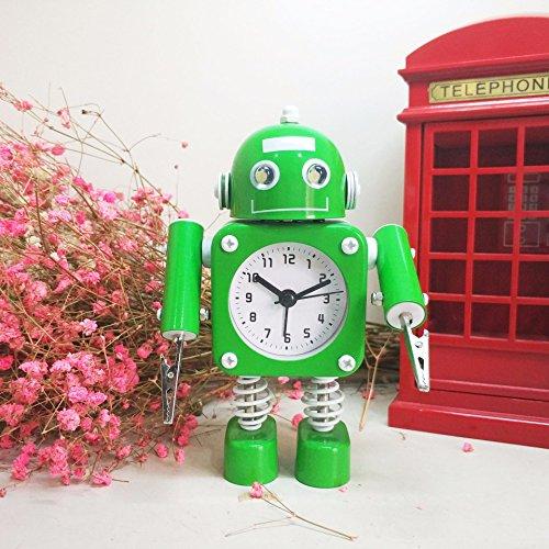 Ayzr Roboter Wecker Schöne Kreative Cartoon Metall Schlafzimmer Wohnzimmer Büro, Grün