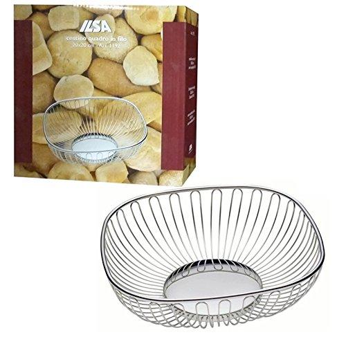 CESTINO porta pane quadrato della ILSA 20cm in acciaio inox cestello